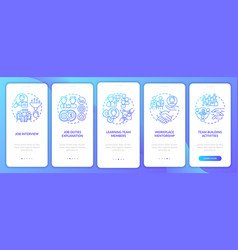 Learning team members onboarding mobile app page vector