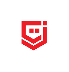 letter cj simple linear dots geometric logo vector image