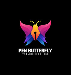 Logo pen butterfly gradient colorful style vector