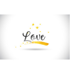 Love word text with golden stars trail and vector