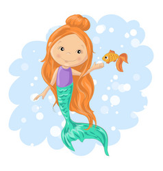 lovely cartoon mermaid and goldfish vector image