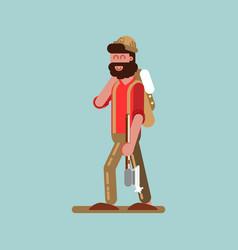 lumberjack with axe in hand walking vector image