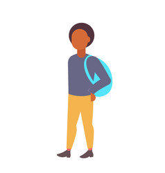 man student standing with backpack african vector image