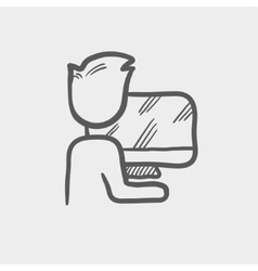 Man working in computer sketch icon vector