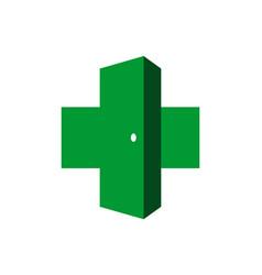 medical abstract door logo icon vector image