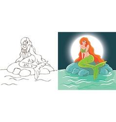 Mermaid night at stone vector