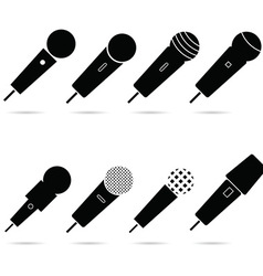 microphone set in black color art vector image