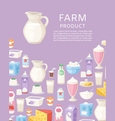 milk and diary farm products poster with different vector image