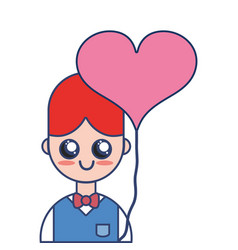 nice boy with uniform clothes and heart balloon vector image