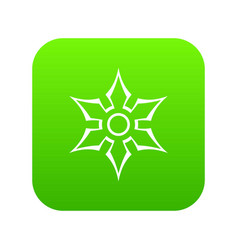 Ninja shuriken star weapon icon digital green vector