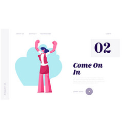 Open presentation event website landing page vector