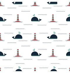 Pattern lighthouse whale vector