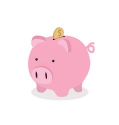 Piggy bank with coin icon vector