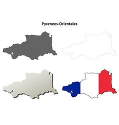 Pyrenees-Orientales Languedoc-Roussillon outline vector