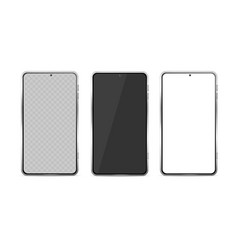 realistic detailed 3d phone glass template set vector image