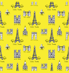 seamless background with symbols of paris vector image