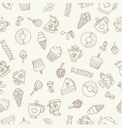seamless pattern of hand-drawn coffee icons vector image