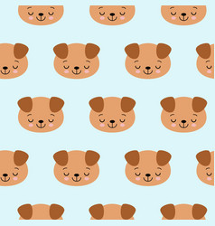 seamless pattern with cute sleeping dogs vector image