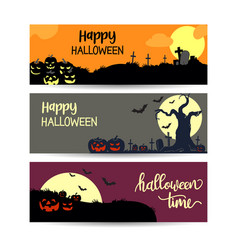 set halloween sale banners layout design vector image