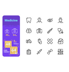 set medicine simple lines icons headache vector image