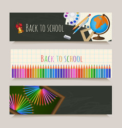 set of back to school banners with student items vector image