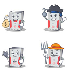 Set of computer character with doctor money bag vector