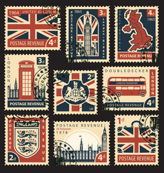 Set of postage stamps with uk symbols and flag vector