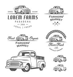 set retro farming labels and badges vector image