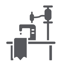 sewing workplace glyph icon craft and sew vector image