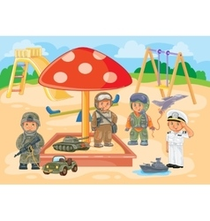 Small children different professions playing in vector image