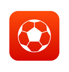 soccer ball icon digital red vector image