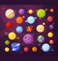 Space planets and stars cartoon vector