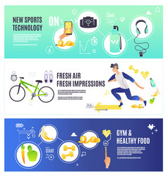 Sport and healthy lifestyle horizontal banners set vector