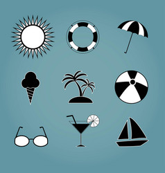 summer set icons isolated on background modern fl vector image