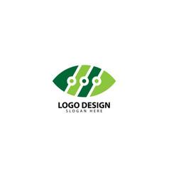 Techno leaf logo design template vector