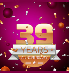 Thirty nine years anniversary celebration design vector