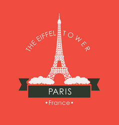 travel banner with eiffel tower in paris france vector image