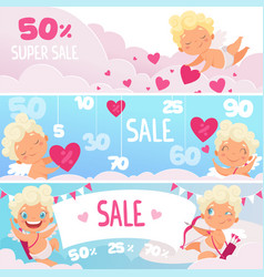 Valentine day sale banners red hearts cute funny vector