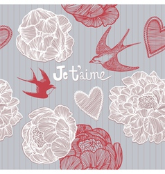 Valentines card Swallows and flowers pattern vector image