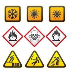 Warning symbols hazard signsthird set vector