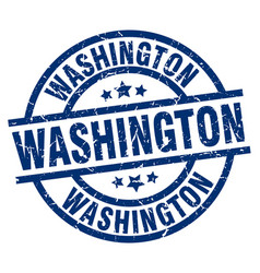 washington blue round grunge stamp vector image