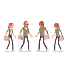 Young red-haired man and woman walking vector