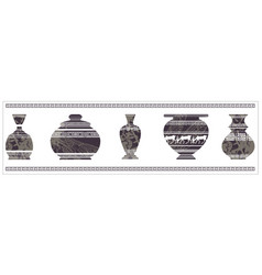 ancient vase with greek ornament vector image
