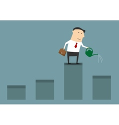 Businessman watering graph for financial growth vector image