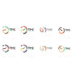 clock time concept set thin line flat design vector image