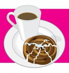 coffee and cinnamon bun vector image vector image