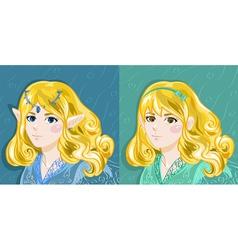 Elf and Human Girl vector image vector image