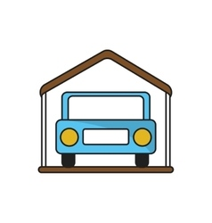 Isolated car inside house design vector image
