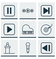set of 9 music icons includes octave skip song vector image