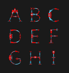 technical robot font letters from a to i vector image vector image